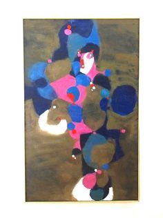 This listing is for a pre-owned original vintage modernist abstract painting on canvas, unsigned and undated. The piece is framed in a thin