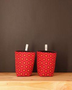 Red Fabric Storage Basket - Chameleon Goods - $12.95 #homedecor #fabricbasket #homestorage