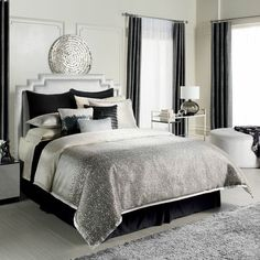 Jennifer Lopez bedding collection Jet Setter Bedding Coordinates | available at Kohls | black  silver. My new bed spread!