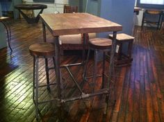 Rustc Modern Table Industrial Reclaimed Wood Top Tables with Recycled Pipe Bases! High Dining Table, High Top Tables, Reclaimed Wood Dining Table, Wood Table, Rustic Pub Table, Outdoor Pub Table, Dining Room, Top Table Ideas, Pub Table Sets