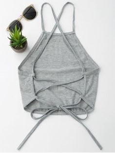 croptop outif Open Back Cropped Tank Top - GRAY S - croptop Teen Fashion Outfits, Mode Outfits, Trendy Outfits, Fashion Sewing, Diy Fashion, Ideias Fashion, Fashion Online, Diy Clothing, Sewing Clothes