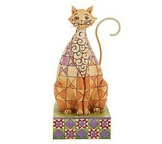 Jim Shore Heartwood Creek Checker Pattern Cat Figurine