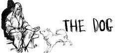 Kullervo istuu penkillä koira vieressänsä (piirros, englanniksi).