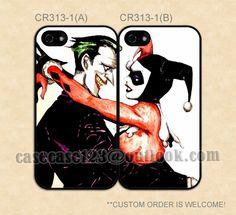 CR313-1 Joker and Harley Quinn, Super Hero Couple Case,iPhone 4/4s/5/5s/5C,Galaxy S2/S3/S4/S5/Note 2/3,One S/X/M7/M8,Moto G