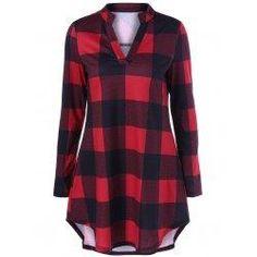 #trendsgal.com - #Trendsgal Plaid Split Neck T Shirt - AdoreWe.com