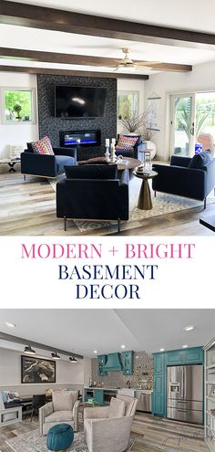 Modern and Bright Basement Decor! - Jennifer Allwood Home Small House Decorating, Decorating Tips, Interior Decorating, Basement Layout, Basement Ideas, Black Wallpaper, Wall Wallpaper, Teal Kitchen Cabinets, Basement Painting