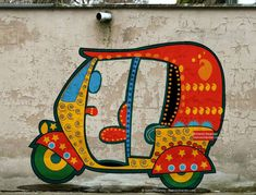 auto rickshaw a wall painting rickshaw Worli Painting, Fabric Painting, Wall Painting Decor, Street Painting, Madhubani Art, Madhubani Painting, Rangoli Painting, Tribal Art, Geometric Art