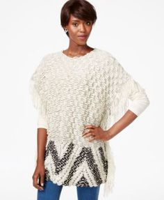 Bar III Fringed Poncho Sweater, Only at Macy's