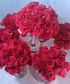 hot pink wedding bouquets | hot pink latin lady roses 6 bridesmaids bouquets and a bridal bouquet ...