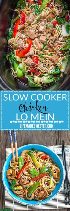 Slow Cooker Chicken Lo Mein makes the perfect easy Asian-inspired weeknight meal! Best of all, takes only 15 minutes to put together with the most authentic flavors! So delicious and way better than a (Slow Cooker Chicken) Crockpot Dishes, Crock Pot Slow Cooker, Crock Pot Cooking, Slow Cooker Chicken, Slow Cooker Recipes, Crockpot Recipes, Chicken Recipes, Cooking Recipes, Healthy Recipes