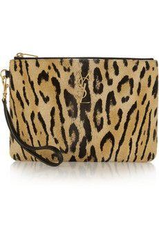 Saint Laurent Leopard-print calf hair pouch | NET-A-PORTER