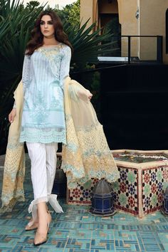 Maria B Light Blue Lawn Eid Collection 2017 - Original Online Shopping Store Whatsapp: 00923452355358 Website: www. Pakistani Dresses Online, Eid Dresses, Indian Dresses, Indian Outfits, Women's Fashion Dresses, Eid Outfits, Girly Outfits, Pakistani Fashion Casual, Pakistani Dresses Casual