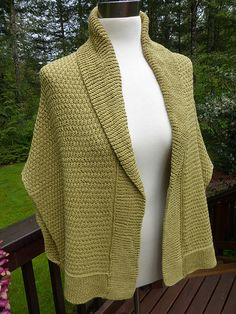 Free Knitting Pattern for Chill Begone Sweater Wrap - This shawl collared cardigan is knit side to side in two pieces and seamed/grafted and then the collar and hem are knit from picked up stitches. Sm/Med and Med/Lrg Designed by Linda Braley Sweater Knitting Patterns, Knit Patterns, Free Knitting, Knit Scarves Patterns Free, Knit Wrap Pattern, Free Pattern, Knit Shrug, Knitted Poncho, Knit Shawls