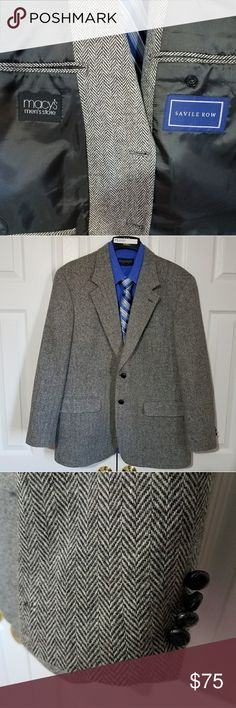 Savile Row 44R Herringbone Gray Sport Coat Gently worn and well taken care of. A must have in any mans closet. A little chip on one of the sleeve buttons.  No other imperfections were found.  ***SHIRT NOT INCLUDED***  Measurements taken while laying flat: Size: Tag missing 44R  Color: Gray  Material: 100%Wool Chest (Underarm to Underarm): 23.5 Waist: 22 Length (From Bottom of Collar): 31 Sleeves (Top of shoulder to end of cuff): 24.5 Shoulders (Seam to seam): 19.5 Vent: Single Savile Row…