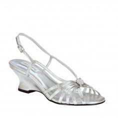 ANASTASIA-296 Women Rhinestones Wedge Sandal - Silver