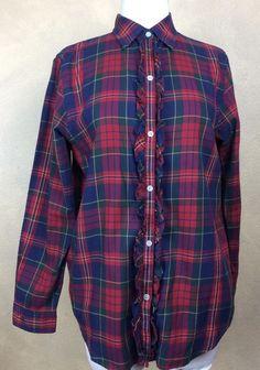 Lauren Ralph Lauren Tartan Plaid Shirt Button Down Ruffled Blouse Size S  | eBay