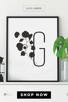 Culver and Cambridge's Boho Letter G Print. A sophisticated Letter G paired with soft botanical art, available in blush pink, gray, black, or taupe. Finished with premium matte paper and 6-color inks for vibrant depth of color. Decorate your space with our modern, minimalist wall art.|| culverandcambridge.com || Bohemian Wall Décor, Dorm Décor, Blush Art || #poster #artprint #walldecor Typography Prints, Lettering, Bohemian Wall Decor, Botanical Decor, Alphabet Wall, Office Prints, Bedroom Prints, Black And White Prints, Office Wall Decor