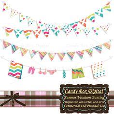 Summer Bunting Summer Garland digital bunting by CandyBoxDigital