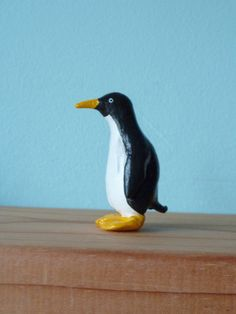 Penguin small figurine or cake decoration by MoleHillMaker on Etsy