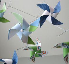 Pinwheel Mobile / Baby Mobile / Crib Mobile / Gender Neutral Boy or Girl / Blue, Green and White : The Zinger