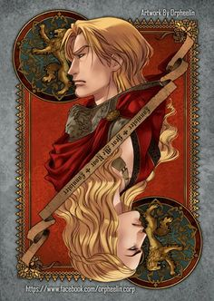 First series of Game of Thrones cards by Orpheelin   Jaime and Cersei