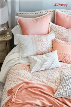 Inspired by the soothing, symmetrical patterns found in a classic garden, JCPenney's Trellis Collection livens up any bedroom with a hint of coral. Layer these luxe sheets with a trellis patterned cover, lots of embroidered accent pillows, plus a cozy throw to give your favorite space a stylish refresh for the season.