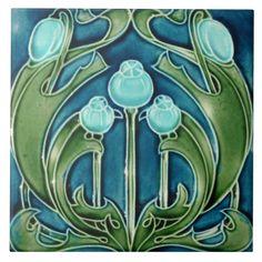 Art Nouveau Tiles, Art Nouveau Design, Ceramic Tile Art, Art Tiles, Azulejos Art Nouveau, Bijoux Art Nouveau, Art Nouveau Pattern, Arts And Crafts Movement, Decorative Tile