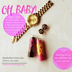 Beauty Crush: Maybelline Baby Lips Electro Lip Balm Collection{from ticklethosetastebuds.blogspot.com} Baby Lips Maybelline, Beauty Crush, How To Apply Lipstick, Wedding Moments, Smell Good, Lip Balm, Wedding Jewelry, Wedding Planner, Bracelet Watch