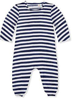 White & Navy Slim Stripe Velvet Playsuit - Infant