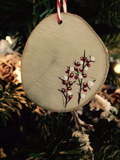 Rustic Wood Burned Painted Ornaments
