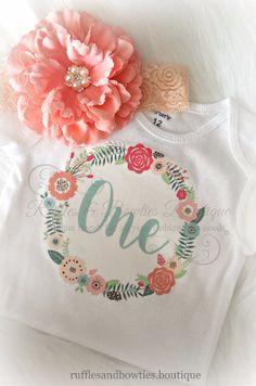 "Boho Birthday ""One"" Aqua and Peach Onesie/Shirt"