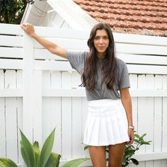 Thina in Australia wears the Tennis Skirt and Tri-Blend Track Tee. #AmericanApparel