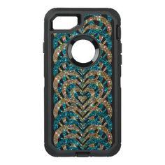 #gold - #Turquoise & Gold Glitter Spiral Vortex Hearts - OtterBox Defender iPhone 7 Case