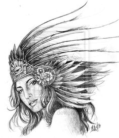 Aztec Drawings | aztec girl by ~emsieow on deviantART