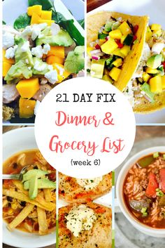 Drooling over this 21 Day Fix Meal Plan - Fish Tacos, Pork with Goat Cheese Butter, Yummy Crock Pot Soups...check it out!