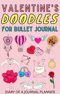 Make your February bullet journal spread look incredible with these Valentine's Day themed bullet journal doodles! #valentinesday #doodles #bulletjournaldoodles Bujo Doodles, Love Doodles, Simple Doodles, Doodle Sketch, Doodle Drawings, Doodle Art, Bullet Journal Layout, Bullet Journal Inspiration, Valentines Day Doodles