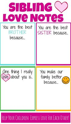 Sibling bonding/ Team building stuff— Encourage Siblings to express love for each other with these printable notes of encouragement Family Meeting, Family Night, Parenting Advice, Kids And Parenting, Natural Parenting, Single Parenting, Sibling Relationships, Sibling Rivalry, Family Bonding