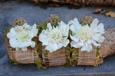 Scabiosa & burlap wrist corsages with hints of wire for a bit of glam.