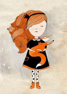 Fox illustration Girl Art Print Nursery Room Kids Art by krize, $19.00
