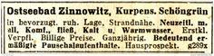 Original-Werbung/ Anzeige 1933 - OSTSEEBAD ZINNOWITZ - ca. 60 x 15 mm