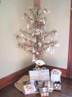 For the industrial Christmas, a tree made out of bed springs - gorgeous