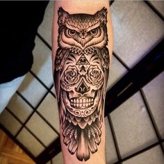 My Sugar skull and owl tattoo.