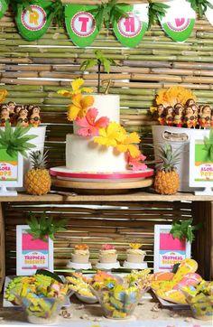 Hawaiian Luau themed birthday party