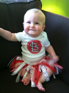 Custom onesie and skirt. Any sport, any team, any colors! St. Louis Cardinals!