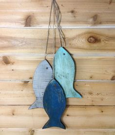 """Rustic wooden fish - Painted String of Fish Wall decor reclaimed wood - 11"""" wood fish wall art for beach house decor or lake house decor"""