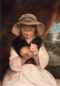 La fillette et le chaton - The girl and the kitten    1787  Francesco Bartolozzi,  1728-1815,  Italie - Italia