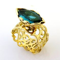 Natural Tourmaline Gold Ring, 18K Gold Ring, Filigree Gold Ring, Ancient Ring, Cocktail Ring, Elegant Gold Ring, Lace Ring, Unique ring