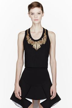 ALEXANDER MCQUEEN Black gold-embroidered Glory Vest tank