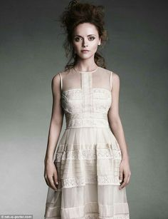 In style: Christina Ricci wears a Temperley London dress in the fashion shoot for net-a-porter Christina Ricci, Beautiful Christina, Temperley London Dress, Designer Gowns, A 17, Fashion Shoot, Dream Dress, Celebrity Photos, Her Style