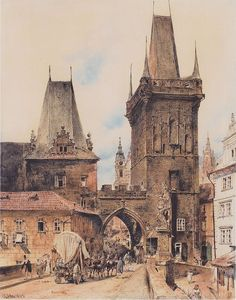 Rudolf Ritter von Alt Rudolf von Alt – Bridge Tower on the Lesser Town in Prague – 1843 – Rudolf Ritter von Alt – Wikimedia Old Paintings, Rudolf Von Alt, Prague, Fantasy World, Fantasy Art, Medieval Houses, Sacred Architecture, Urban Setting, Retro Vintage